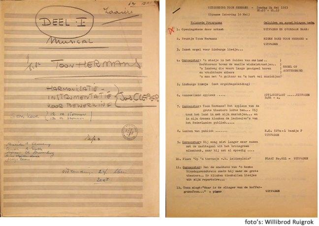 Manuscript van het arrangement van Toon Hermans' musical comedy en draaiboek bij de uitzending op 24 mei 1953